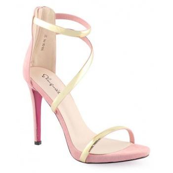 Παπούτσι γυναικεία πέδιλα με χρυσά λουράκια ροζ δερματίνη λουστρίνι ... 9f2069cf86c
