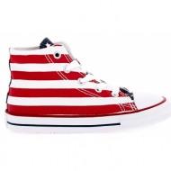 converse - βρεφικά μποτάκια chuck taylor all star print hi λευκά-κόκκινα