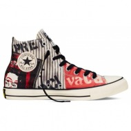 converse - unisex παπούτσια chuck taylor all star hi μαύρα-κόκκινα