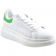 atlanta γυναικείο αθλητικό λευκό πράσινο παπούτσι qh-13-1