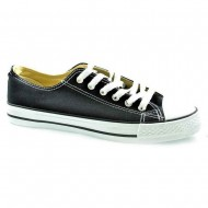 il mondo ανδρικό πάνινο μαύρο παπούτσι 607-1