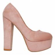 σουέτ γόβες με χοντρό τακούνι ροζ