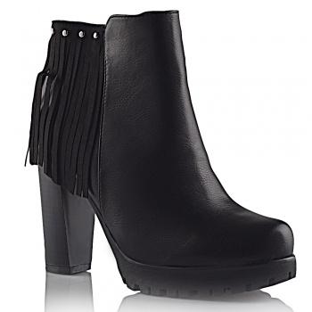 Παπούτσι μποτάκια με χοντρό τακούνι και τρακτερωτή σόλα 8655 μαύρο ... e7210a459a1