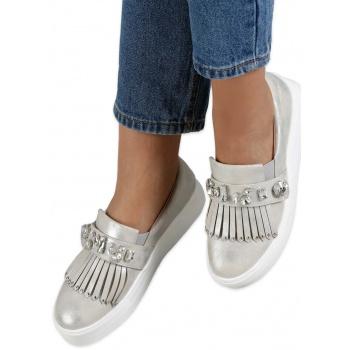 46922d7d957 Παπούτσι γυναικεία loafers shine (κωδ. l3118) - ασημί με πέτρες « opo.gr