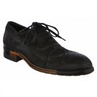 no. 42 μαύρα suede δερμάτινα δετά παπούτσια