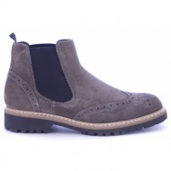 taupe suede δερμάτινα μποτάκια