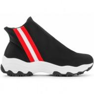 sneakers με ελαστικό ύφασμα 5755 - μαύρο