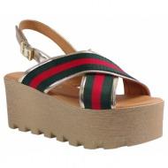 katia shoes γυναικείες πλατφόρμες πέδιλα 135 2080 χρυσό-πράσινο 3c6683991db