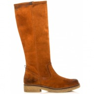 δερμάτινες μπότες flat mtng camel(97092)