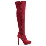 μπότες sedici ψηλοτάκουνες με κορδόνια στο πλάι bordeux(sy055t-w50)