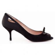 γυναικεία παπούτσια kαλογήρου private label-δέρμα καστόρι και υφασμα σατέν