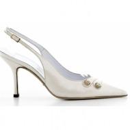 γυναικεία παπούτσια kαλογήρου private label-περλέ δέρμα σεβρώ και στρας