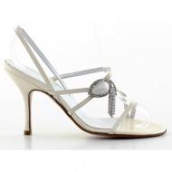 γυναικεία παπούτσια kαλογήρου private label-περλέ δέρμα σεβρώ και κόσμημα