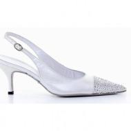 γυναικεία παπούτσια kαλογήρου private label-περλέ δέρμα σεβρώ, σατέν και στρας