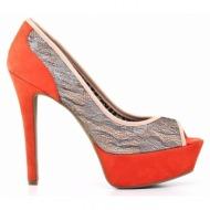 γυναικεία παπούτσια jessica simpson-`υφασμα δαντέλλα και δέρμα τελατίνι