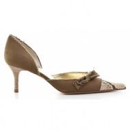 γυναικεία παπούτσια gastone lucioli-ύφασμα κανβάς και δέρμα φίδι