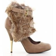 γυναικεία παπούτσια nine west-δέρμα τελατίνι και γούνα συνθετική