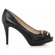 γυναικεία παπούτσια nine west-δέρμα σεβρώ