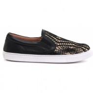 γυναικεία παπούτσια feng shoe-υφ. πλεκτό crochet και δέρμα τελατίνι